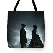 Victorian Couple Face On Another Before A Stormy Sky Tote Bag