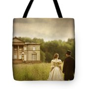 Victorian Couple Walking Towards A Country Manor House Tote Bag