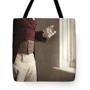 Victorian Gentleman Looking At His Pocket Watch Tote Bag