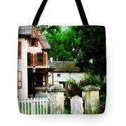 Victorian Home With Open Gate Tote Bag