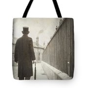Victorian Man Walking Towards A Row Of Cottages Tote Bag