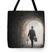 Victorian Man With Top Hat And Case Walking Under A Bridge Tote Bag
