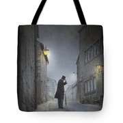 Victorian Man With Top Hat On A Cobbled Street At Night Tote Bag