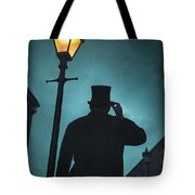 Victorian Man With Top Hat Under A Gas Lamp Tote Bag
