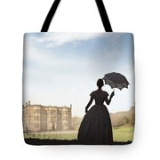 Victorian Woman Approaching A Country Estate Tote Bag