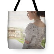 Victorian Woman Approaching A Country Manor House Tote Bag
