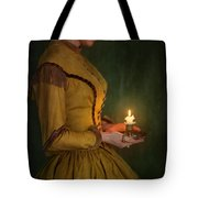 Victorian Woman Holding A Candle Tote Bag