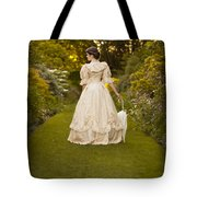 Victorian Woman In A Formal Garden Tote Bag