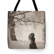 Victorian Woman In Snow Storm Tote Bag
