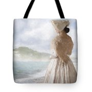 Victorian Woman On The Beach Looking Out To Sea Tote Bag