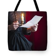 Victorian Woman Reading A Letter By Candle Light Tote Bag