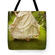 Victorian Woman Running On A Summer Lawn Tote Bag