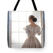 Victorian Woman Standing At The Window Tote Bag
