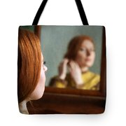 Victorian Woman Using A Dressing Table Mirror  Tote Bag