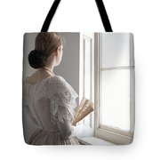 Victorian Woman With A Fan At The Window Tote Bag