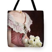 Victorian Woman With Roses Tote Bag