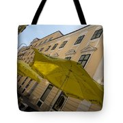 Vienna Street Life - Cheery Yellow Umbrellas At An Outdoor Cafe Tote Bag