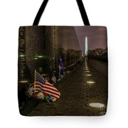 Vietnam Veterans Memorial At Night Tote Bag