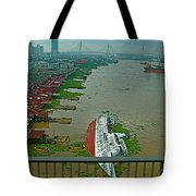 View Of A Ship On Its Side From A Bridge Near Bangkok-thailand Tote Bag