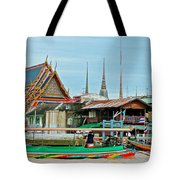 View Of A Temple From Waterway Of Bangkok-thailand Tote Bag