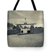 View Of Abandoned Church Gate Tote Bag
