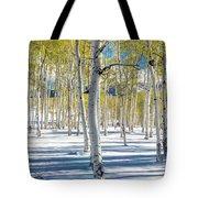 View Of Aspens In Fresh Winter Snow Tote Bag