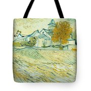 View Of Asylum And Saint-remy Chapel Tote Bag by Vincent van Gogh