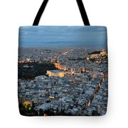 View Of Athens During Dawn Tote Bag