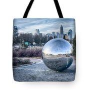 View Of Charlotte Nc Skyline From Midtown Park Tote Bag