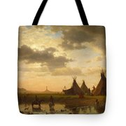 View Of Chimney Rock Ohalila .sioux Village In The Foreground Tote Bag