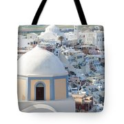 View Of Fira With Famous Church Santorini Greece Tote Bag