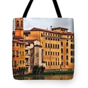 View Of Florence Along The Arno River Tote Bag