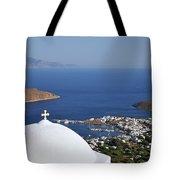 View Of Livadi Port Tote Bag