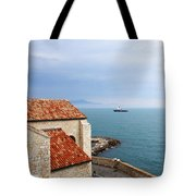 View Of Mediterranean In Antibes France Tote Bag