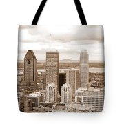 View Of Montreal In Sepia Tote Bag