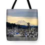 View Of Mt. Rainier From Gig Harbor Wa Tote Bag