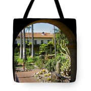View Of Santa Barbara Mission Courtyard Tote Bag