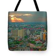 View Of Sun Setting Over Bangkok Buildings From Grand China Princess Hotel In Bangkok-thailand Tote Bag