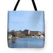 View Of The Art Museum And Waterworks In Philadelphia Tote Bag