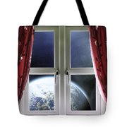 View Of The Earth Through A Window With Curtains Tote Bag