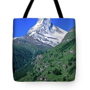 View Of The Matterhorn And The Town Tote Bag