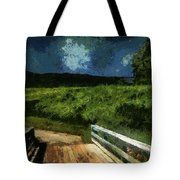 View Of The Night Sky From The Old Bridge Tote Bag