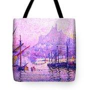 View Of The Port Of Marseilles Enhanced Color Iv Tote Bag