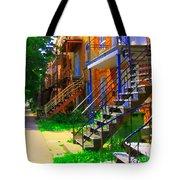 View Of Verdun Steps Stairs Staircases Winding Through Summer  Montrealstreet Scenes Carole Spandau Tote Bag