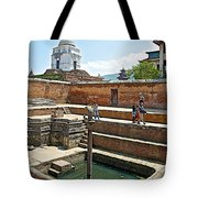 View Of White Temple From Pool Area Behind Bhaktapur Durbar Square In Bhaktapur-nepal - Tote Bag