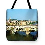 View On Ponte Vecchio From Uffizi Gallery Tote Bag