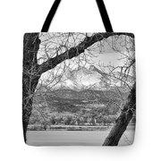 View Through The Trees To Longs Peak Bw Tote Bag