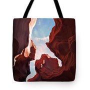 View To The Heavens From Antelope Canyon In Arizona Tote Bag
