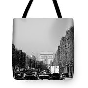 View Up The Champs Elysees Towards The Arc De Triomphe In Paris France  Tote Bag