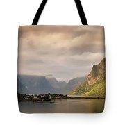 Village And Fjord Among Mountains Tote Bag